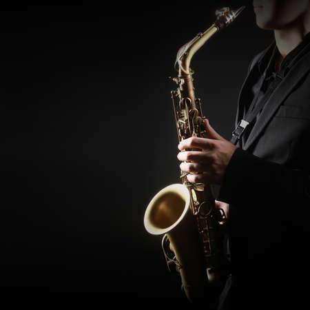 Saxophone Player Saxophonist jazz man with Sax alto Jazz Musician hands closeup