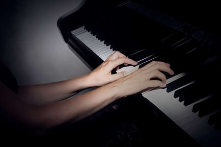 Piano player Musical instruments grand piano playing pianist hands close up