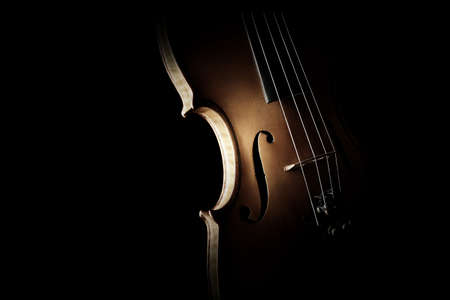 Violin close up isolated on black Classical music instruments closeup