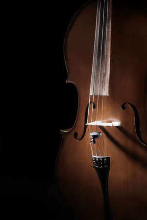 Cello close up Musical instruments closeup. Violoncello isolated on black background