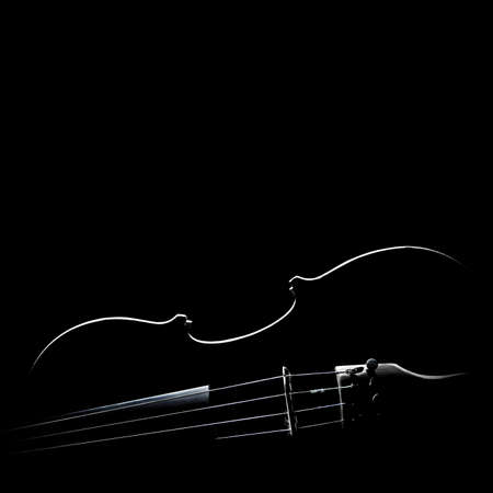 Violin silhouette Musical instruments of orchestra isolated on black background