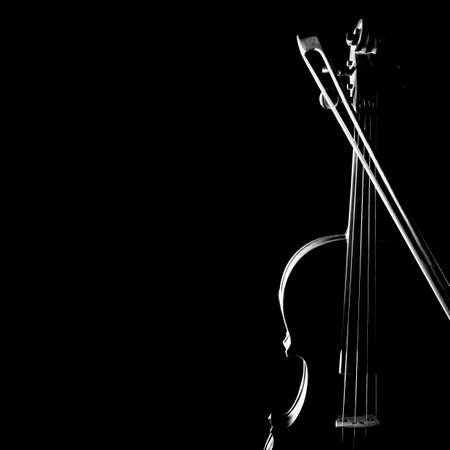 Violin bow orchestra musical instruments isolated on black