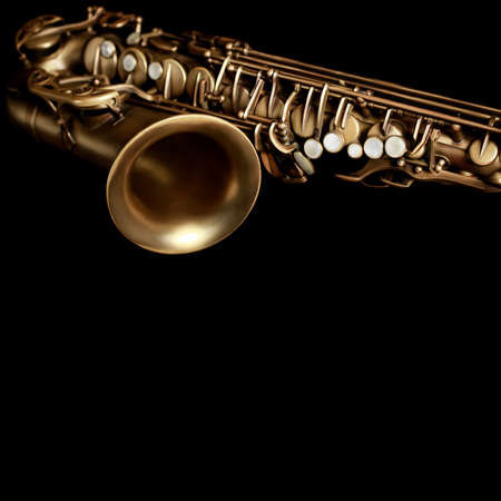 Saxophone jazz music instruments Alto sax close up Saxophone isolated on black Stock Photo