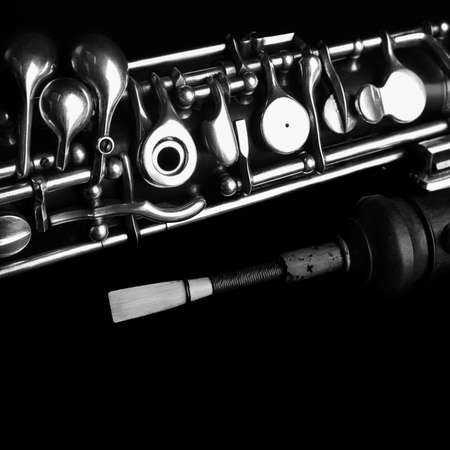 Musical instruments woodwind oboe. Orchestra instrument detail close up isolated on black