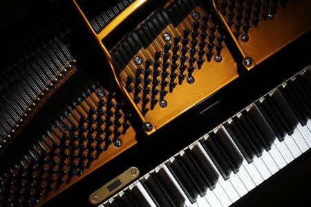 Klavier hautnah. Grand Piano Detail Öffnen Sie im Inneren Musik Instrument Nahaufnahme