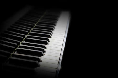 Piano keyboard. Grand piano keys Close up musical instrument