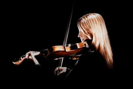 バイオリン プレーヤー ヴァイオリニスト演奏ヴァイオリン クラシック音楽家黒に分離
