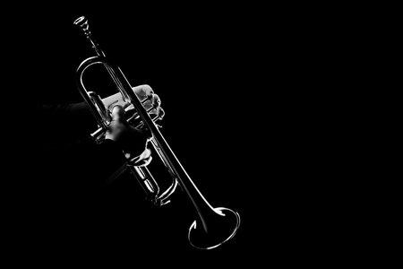 Trumpet player. Trumpeter playing jazz musical instrument Redactioneel