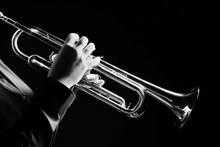 Trumpet player. Trumpeter playing jazz musical instrument 스톡 콘텐츠