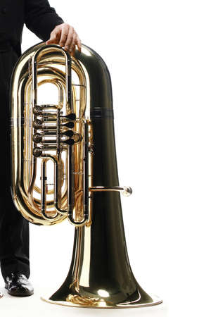 Tuba brass instrument. Wind music instrument Orchestra bass horn isolated on white