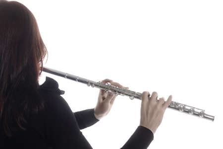 Flute music. Flutist hands flute instrument isolated on white