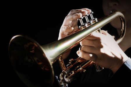 Trumpet instrument. Music player trumpeter jazz playing. Brass instrument cornet hands
