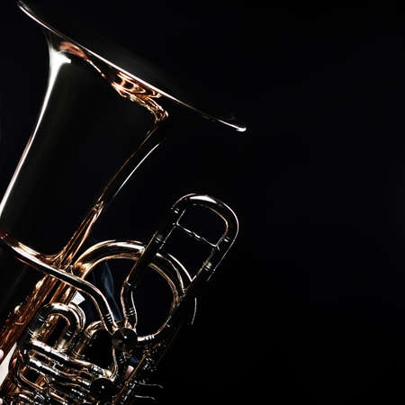 Tuba brass instrument. Wind music instrument. Orchestra bass horn trumpet isolated 스톡 콘텐츠