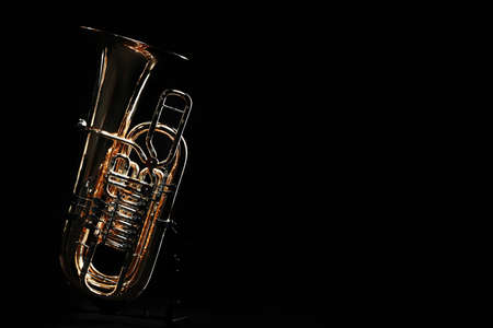 Tuba brass instrument. Wind music instrument. Orchestra bass horn trumpet isolated Stock Photo