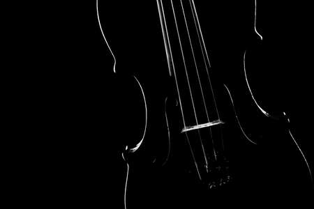 Violin close up classical music instrument Violin silhouette cello isolated on black background