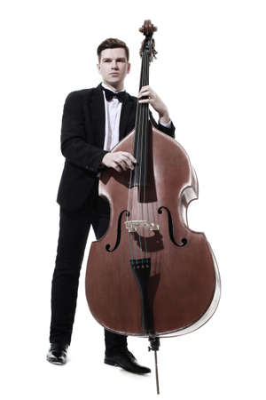 Double bass player contrabass playing. Classic musician Jazz bass isolated on white Banco de Imagens
