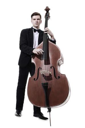 Joueur de contrebasse contrebassiste jouant. Musicien classique Jazz basse isolé sur blanc Banque d'images - 87180515