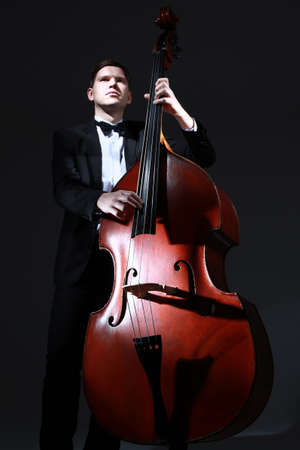 Double bass player contrabass. Classical musician jazz bass acoustic playing