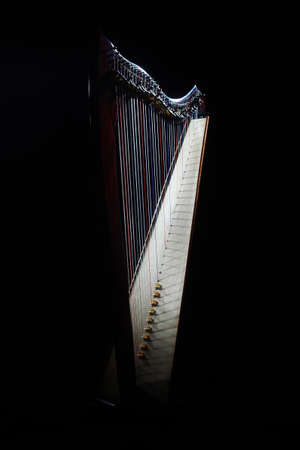 Harp instrument. Irish harp music isolated on black
