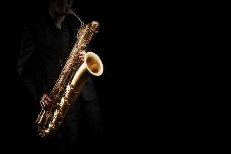 Saxophone player jazz musician. Saxophonist with baritone sax player Standard-Bild