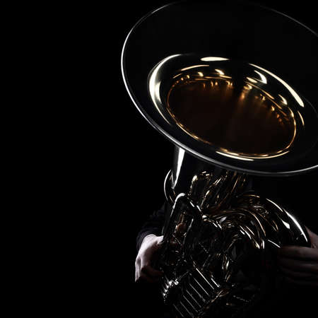 Tuba brass instrument. Wind music instrument Orchestra bass horn isolated