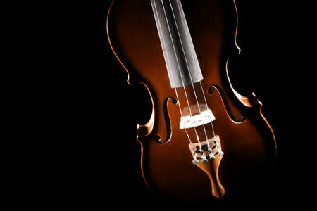 Violin close up music instrument orchestra Violin strings closeup isolated on black