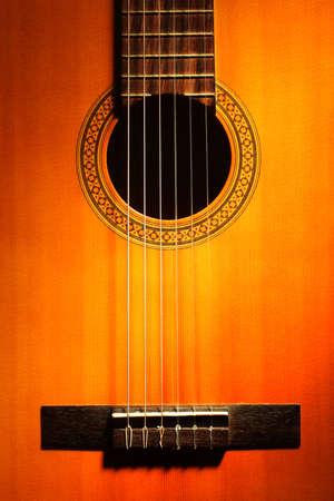 Acoustic guitar classical strings close up Musical instrument closeup