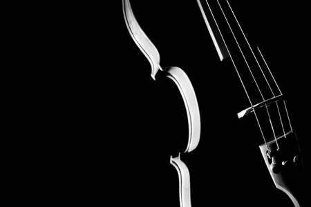 Violin music instrument orchestra. Silhouette violin string close up on black