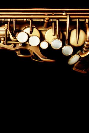 Saxophone jazz instrument sax. Jazz music instruments isolated on black background