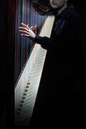Harp instrument strings closeup. Hands playing harp music Standard-Bild