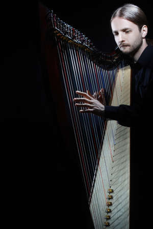Harp player. Harpist musician playing Irish harp celtic music instrument Standard-Bild