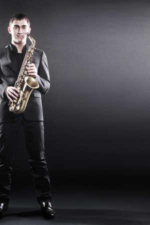Saxophone player Jazz musician. Sax player  Saxophonist portrait Standard-Bild