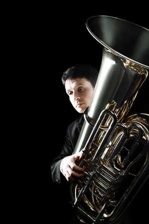 Tuba brass instrument. Classical musician  horn player Bass orchestra instrument