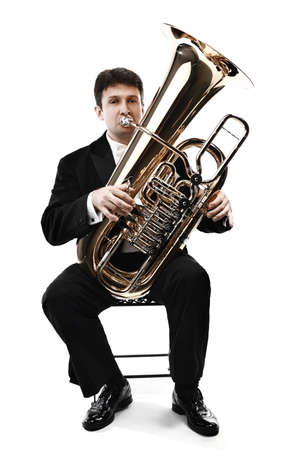 Tuba brass instrument. Wind classical musician isolated on white horn player trumpeter Stock Photo