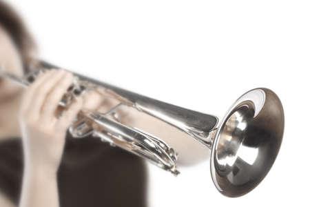Trumpet player hands close up.Trumpeter isolated. Brass instrument music Standard-Bild