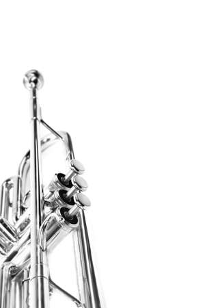 Trumpet isolated on white brass instrument. Wind music instrument close up