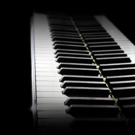 Close-up view of piano keyboard.