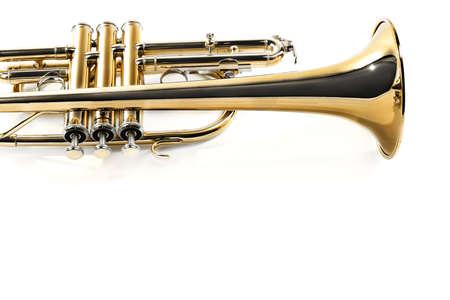 Trumpet isolated on white background. Cornet music instrument horn Banco de Imagens