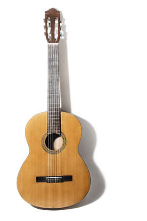 Acoustic guitar. Classical spanish guitar isolated on white music instrument
