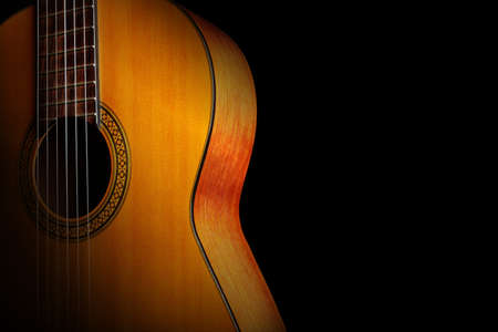 Acoustic guitar classical spanish guitar close up. Musical instruments closeup Standard-Bild