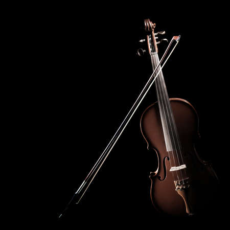 Violin isolated. Classical music instruments of orchestra. Violin and bow isolated on black background
