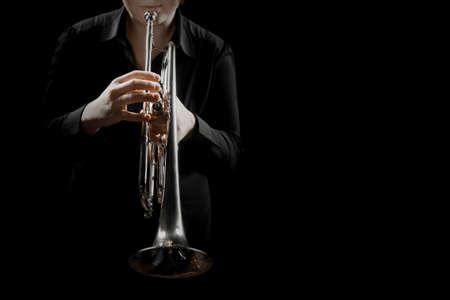 Trumpet player brass orchestra instrument. Jazz music instrument closeup isolated Banco de Imagens