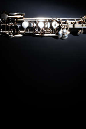 Oboe classical music instrument. Orchestra woodwind instruments closeup
