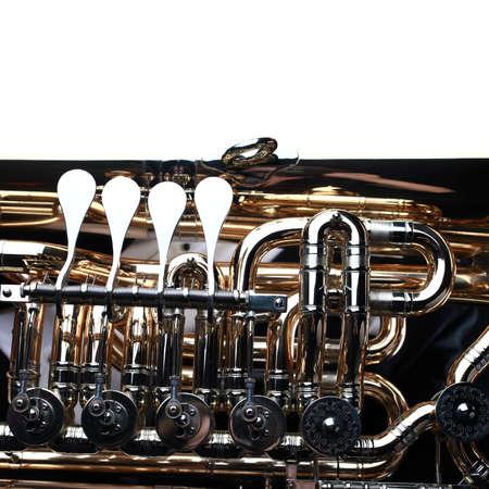 Tuba brass instrument. Wind music instrument Orchestra bass euphonium horn closeup