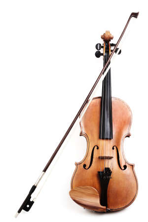 Violin isolated on white background. Violin with bow classical music instruments of orchestra