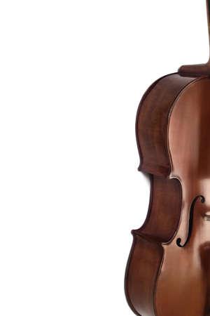 Cello orchestra music instrument closeup isolated on white. Violoncello close up