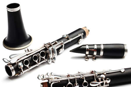 Clarinet classical music instrument. Orchestra woodwind instruments isolated on white