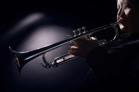 Trumpet player jazz musician playing brass instrument