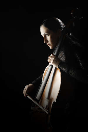 Cello player. Cellist play violoncello. Classical musician orchestra music instrument Banco de Imagens