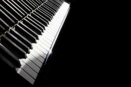 Piano keyboard. Grand piano keys closeup. Classical music instrument close up Banco de Imagens